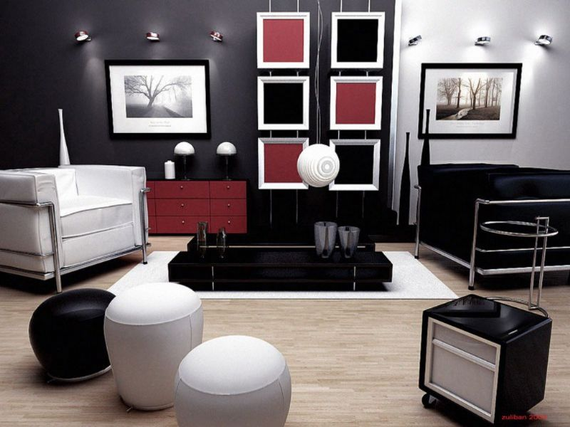 Modern Living Room Decorating Ideas For Apartments With Black Red And White Color Combination Fantastic Viewpoint