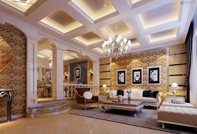 fascinating english style living room design | Fascinating European Living Room Ceiling Design