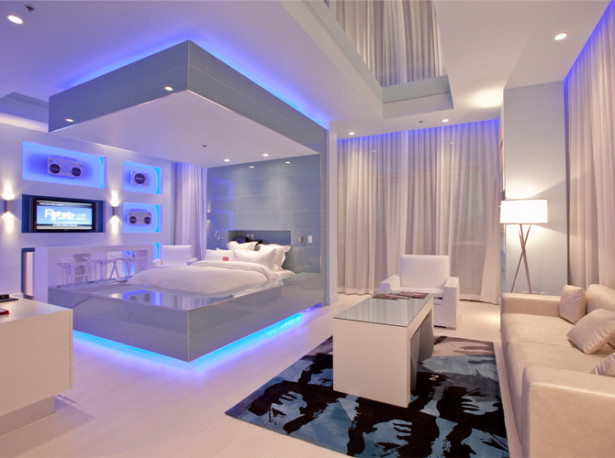 Awesome And Cool Blue Bedroom Decorating Ideas Indoor Weight Room Decor Led Lighting 15