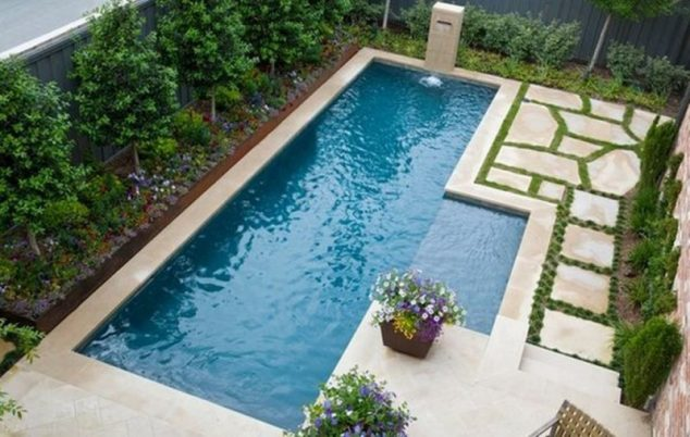 16 Garden And Backyard Swimming Pool Stepping Ideas that ... on Small Rectangular Backyard Ideas id=21521