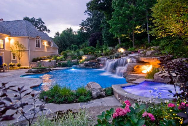 16 Garden And Backyard Swimming Pool Stepping Ideas that ... on Dream Backyard With Pool id=25991