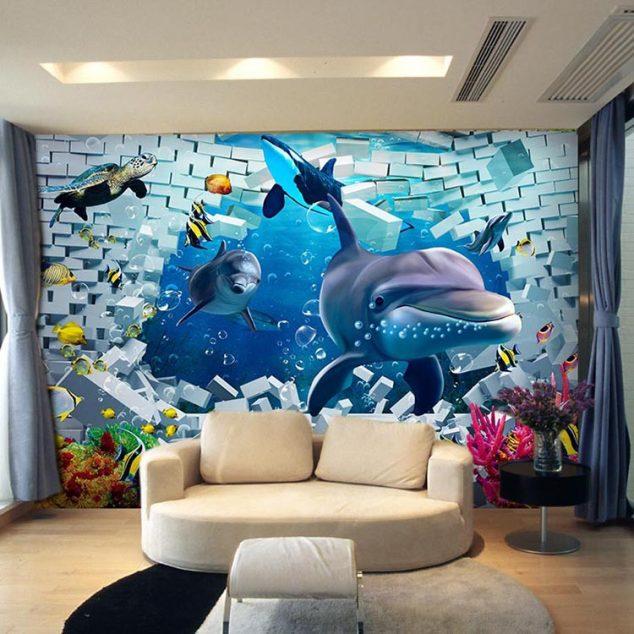 16 Creative 3D Living Room Wallpaper Ideas That You Should ...