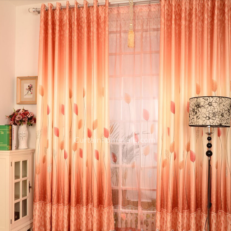 Orange Color Leaf Image Diffe Style Of Curtains Chs4977 4
