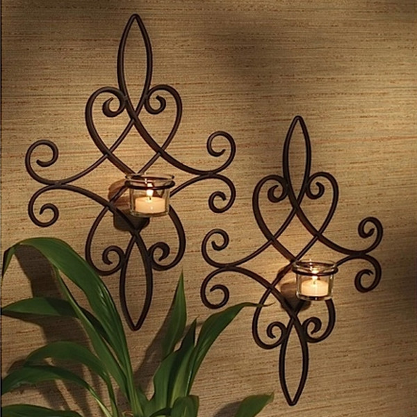 15 Chic Wrought Iron Wall Candle Holders You Will Admire on Wrought Iron Outdoor Candle Sconces id=56395