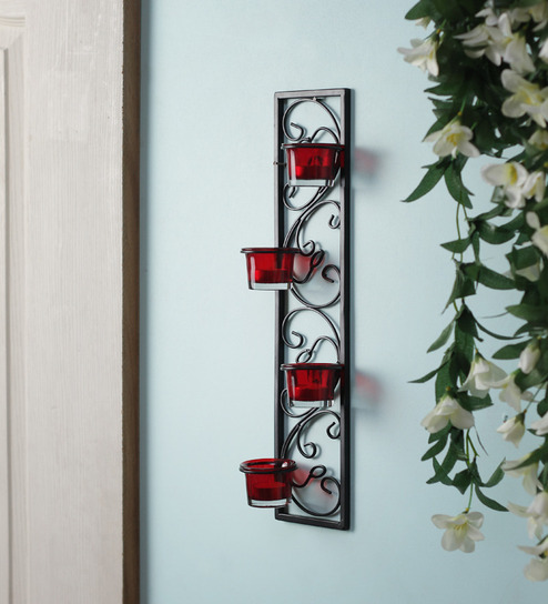 Hosley Set Of 2 Decorative Wall Sconce Candle Holder With Red Gl And Free T Light Candles Ecqyx1