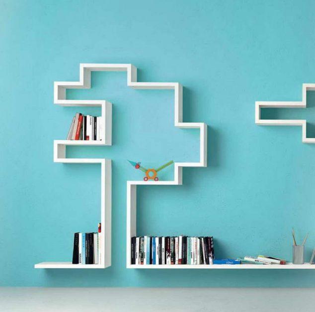 Blue And White Bookshelf